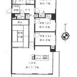 南・東向き角部屋の4LDK(間取)