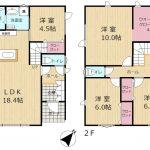 主寝室10帖と4.5帖WICの4LDKのB棟(間取)
